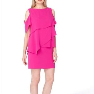 NWT Tahari Pink Tiered Cold Shoulder Dress